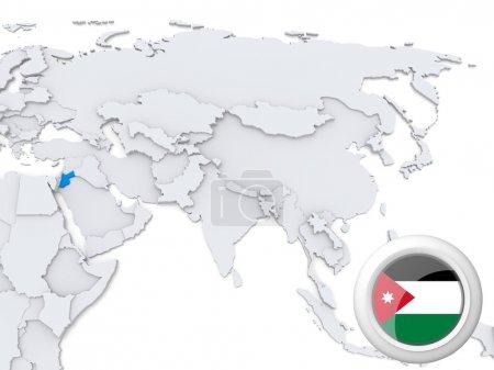Jordan on map of Asia