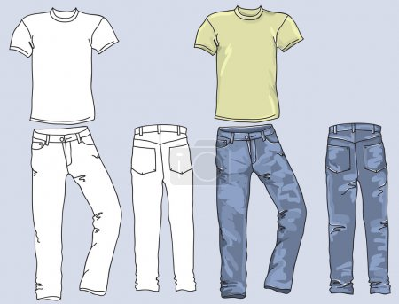 Man's jeans and t-shirts