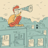 Young man looking through a telescope and sitting on roof of buildingVector cartoon illustration