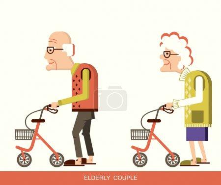 Senioren mit Rollatoren