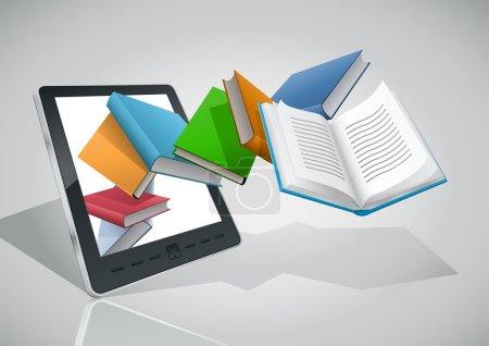 E-book reader and all books.