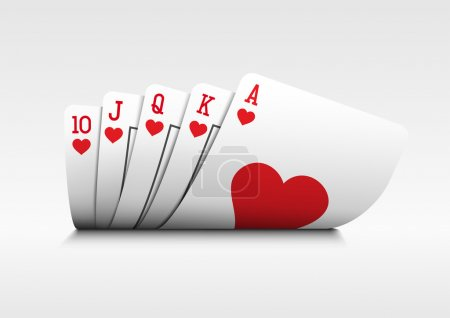 Illustration for Royal flush playing cards poker hand on white background. - Royalty Free Image