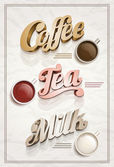 Coffee tea and milk poster