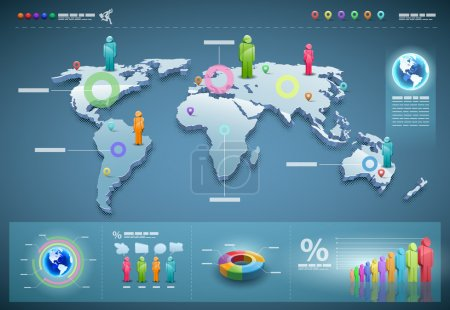Illustration for 3d vector world map illustration and infographics design template. - Royalty Free Image