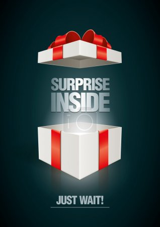 Illustration for Vector surprise inside open gift box design template. Elements are layered separately in vector file. - Royalty Free Image