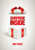 Vector surprise inside open gift box design template Elements are layered separately in vector file