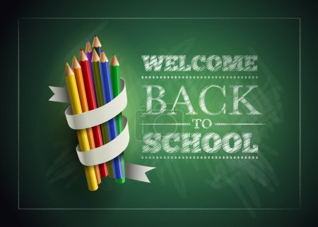 Illustration for Welcome back to school. Vector illustration. Elements are layered separately in vector file. Easy editable. - Royalty Free Image