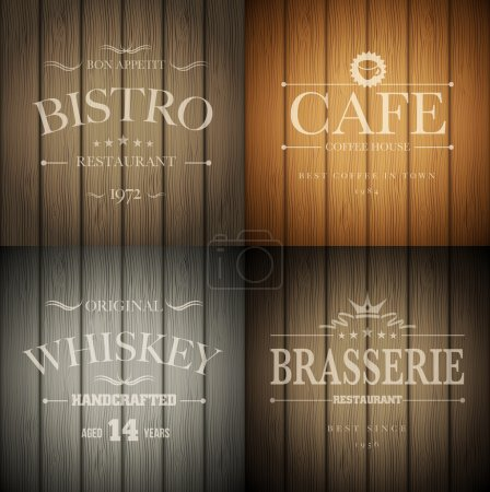 Photo for Bistro, cafe, brasserie and whiskey emblem templates on wooden background. Vector illustration. - Royalty Free Image