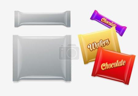 Illustration pour Emballage plastique. Chocolat, gaufrettes, bonbons ou paquets de bonbons . - image libre de droit