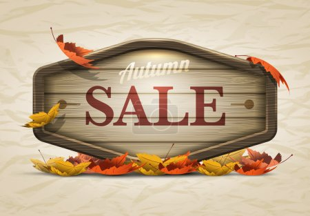 Illustration for Vector realistic illustration of autumn sale wooden signboard. Elements are layered separately in vector file. - Royalty Free Image
