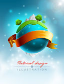 Green world nature concept vector illustration Elements are layered separately in vector file