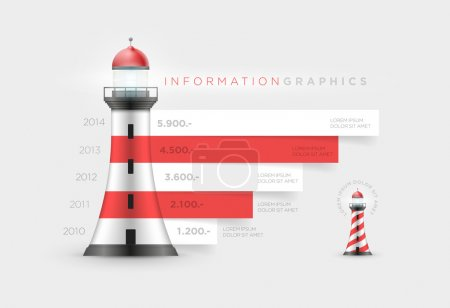 Vector lighthouse infographic design template....