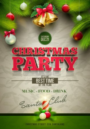 Photo for Vector Christmas party poster design template. Elements are layered separately in vector file. - Royalty Free Image