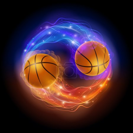 Illustration for Basketball ball in flames and lights against black background. Vector illustration. - Royalty Free Image