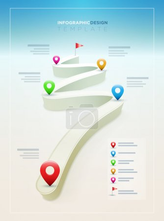 Illustration for Vector Road Infographic Design Template. Elements are layered separately in vector file. - Royalty Free Image
