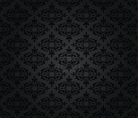 Illustration for Seamless black floral damask wallpaper pattern. This image is a vector illustration. - Royalty Free Image