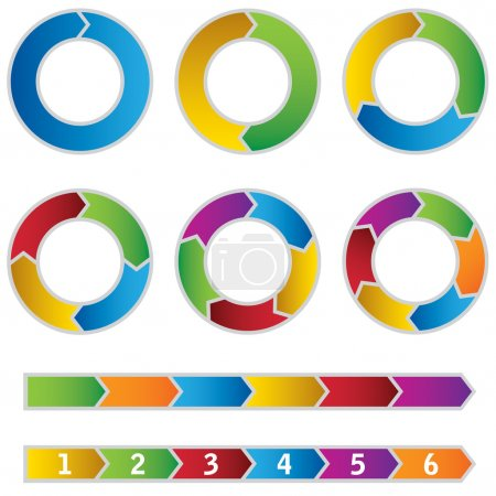 Illustration for Set of colourful Circle Diagrams and arrows. This image is a vector illustration. - Royalty Free Image