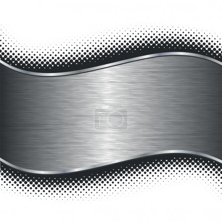 Illustration for Brushed silver metal background with black halftone borders. This image is a vector illustration. - Royalty Free Image