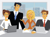 Vector scene with cartoon business in a conference room