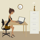 Simple Clip Art Office Scene with woman in neutral shades