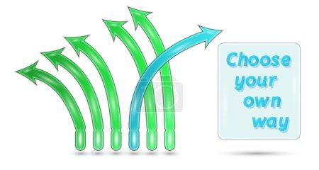 Illustration pour Choisissez votre propre chemin avec des flèches vertes et bleues sur fond blanc - image libre de droit