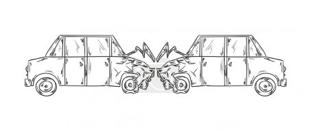 accident of two cars sketch