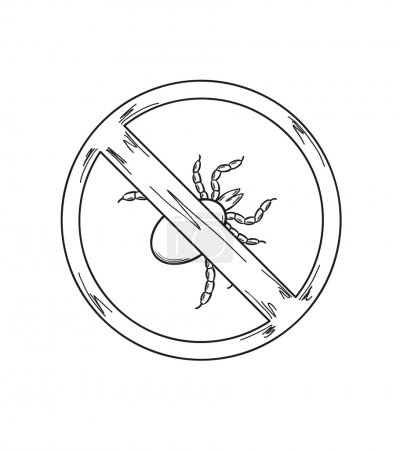 warning sign of the tick, sketch