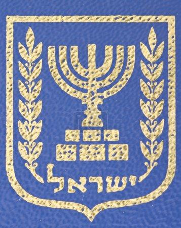 Photo pour Couverture du passeport israélien avec le symbole de l'Etat d'Israël - image libre de droit
