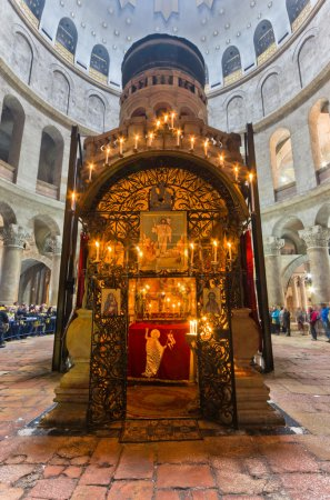 Crowds circle the tomb of Jesus Christ at the Church of the Holy Sepulchre