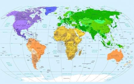 Photo pour Carte détaillée du monde vectoriel - image libre de droit