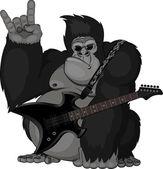 Ilustrace: opice s kytarou
