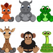 Cute colorful exotic animals collection...