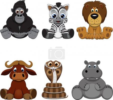 Photo pour Illustration vectorielle : ensemble d'animaux drôles - image libre de droit
