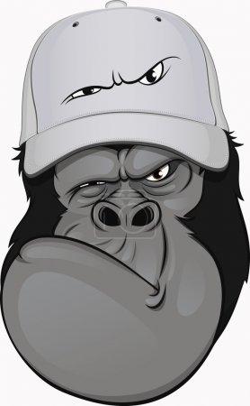 Funny gorilla in a baseball cap...