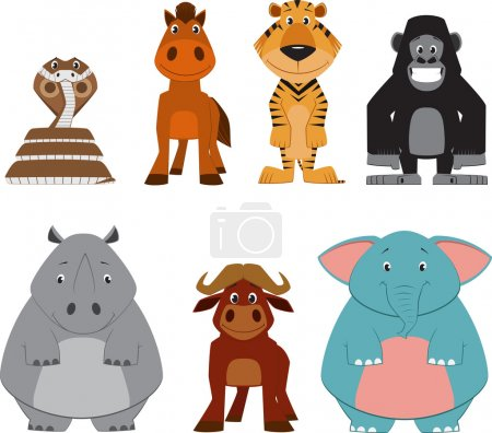 Cute colorful exotic animals collection