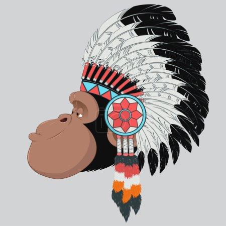 Illustration for Vector illustration: funny chimpanzee - Royalty Free Image