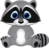 Cute raccoon on white background vector illustration