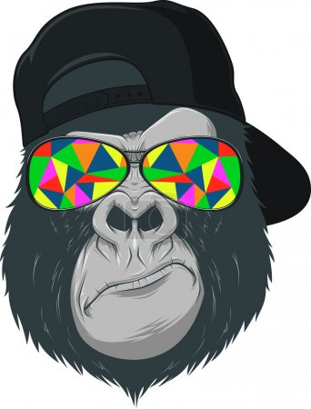Illustration for Vectorial illustration, funny monkey with glasses - Royalty Free Image