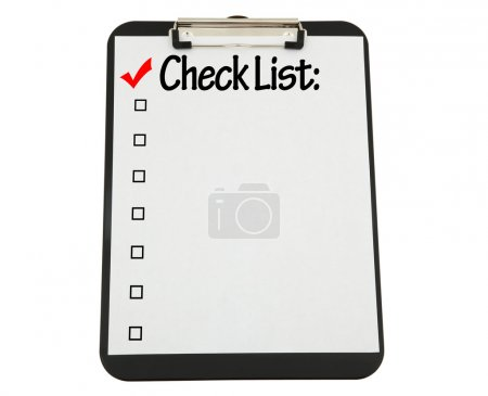 Black Clipboard with Check List Attached
