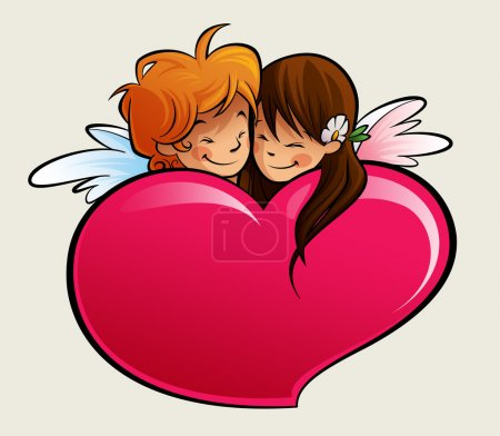 Photo for A boy and a girl cupid, falling in love behind a heart - Royalty Free Image