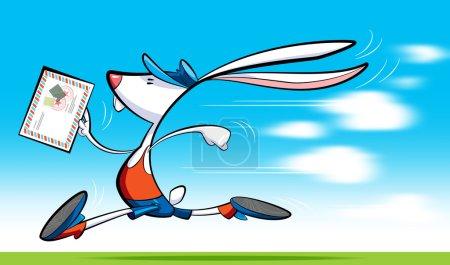 Fast postman rabbit delivering letter
