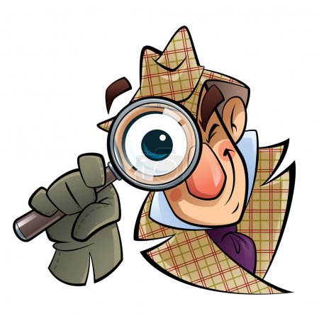 Photo for A cartoon investigator with a huge glass and eye, is looking at us - Royalty Free Image
