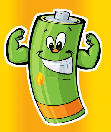Photo pour Une batterie verte forte dessin animé souriant - image libre de droit