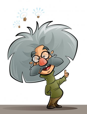 Photo for A cartoon genius scientist thinking and explaining - Royalty Free Image