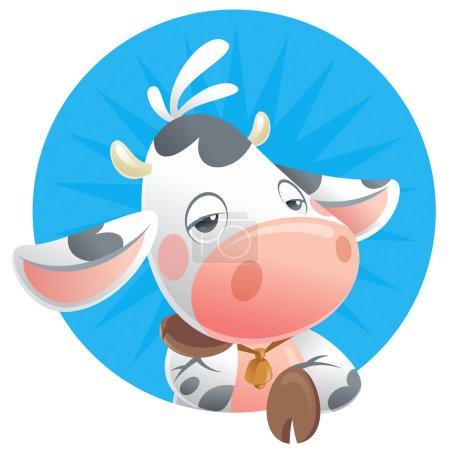 Cartoon sleepy baby cow thinking icon