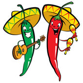 Red and green hot mexican chillies characters singing playing guitar and maraques