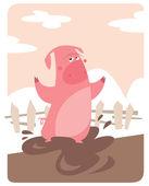 Pig standing on mud
