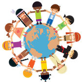 Many kids from different ethnicities holding their hands around the world
