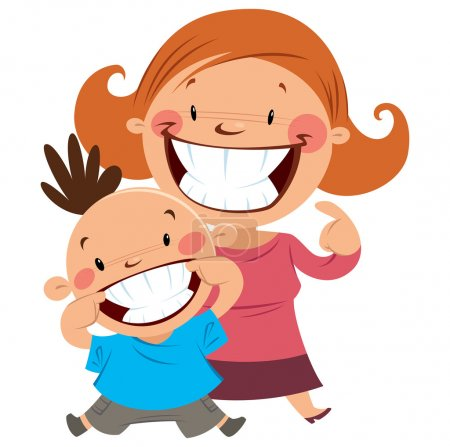 Happy mom and son smiling showing their teeth