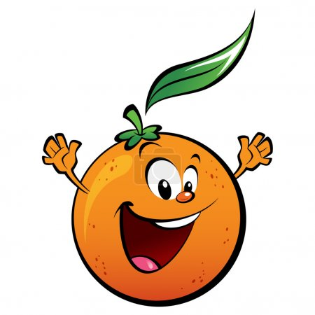 Illustration for A happy orange waving its hands - Royalty Free Image